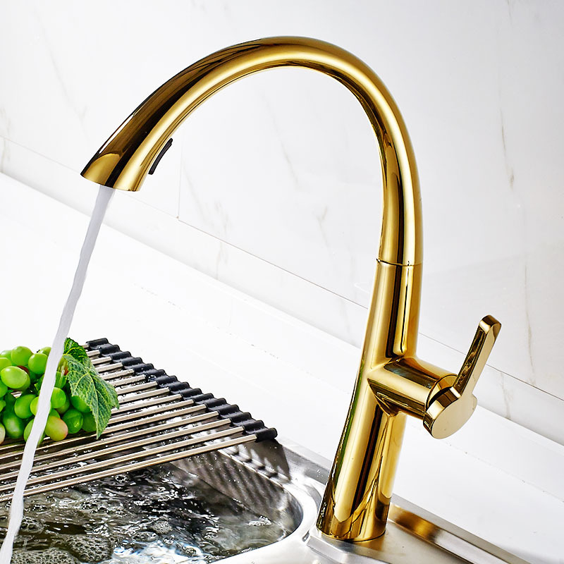 Kitchen Sink In Bangladesh: Pull Out Kitchen Faucet Brass Sink Tap With Dual-Function