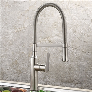Contemporary Brushed Brass Kitchen Faucet Pull-Down Spout Wash Sink Tap