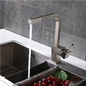 Contemporary Pull-Out Kitchen Faucet Brass Sink Tap Brushed Nickel Chrome