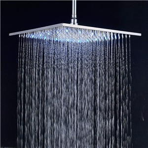 Brass LED Shower Head 12 Inch 7 Colors Chrome Rain Shower Head