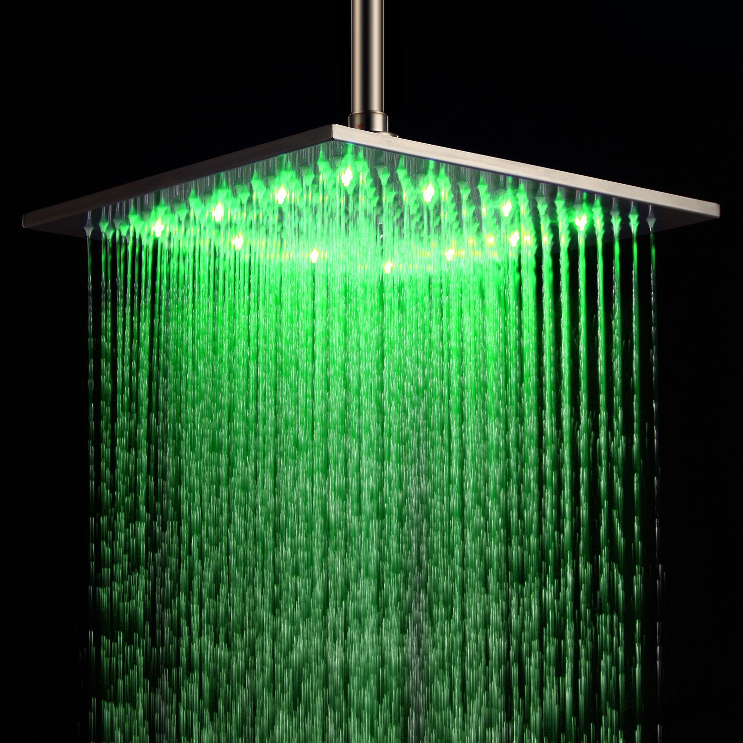 LED Shower Head Temperature 3 Color Changing 16 inch Square ABS For the Bathroom