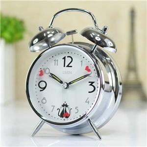 Modern Table Clock Chrome Alarm Clock Mute Bedside Desk Clock N405