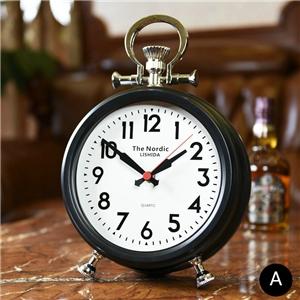 European Simple Table Clock Black Gold Desk Clock Mute Tabletop Clock FG707