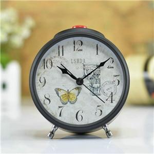 Vintage Table Clock Black Desk Clock Metal Alarm Clock Mute Tabletop Clock N407