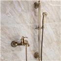 Antique Brass Slider Bar Shower System Bathroom Shower Faucet Set with Handheld Sprayer and Tub Filler