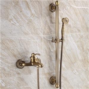 Antique Brass Shower System Wall Mount Shower Faucet