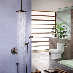 Traditional Antique Shower Faucet Durable Shower System with Ceiling Mount Rain Head