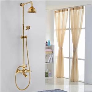 Ti-PVD Gold Shower System Traditional Exposed Shower Faucet Set
