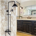 Traditional Black Shower Mixer Set Exposed Shower System with Rain Head Handheld Sprayer Tub Spout