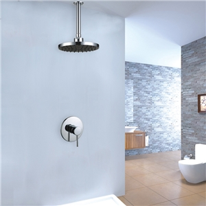 Sleek Round Shower Faucet with Ceiling Mount Rain Shower Head