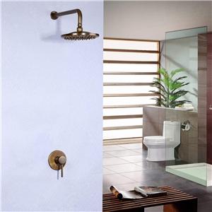 Antique Brass Shower Faucet Wall Mount Rain Shower Head