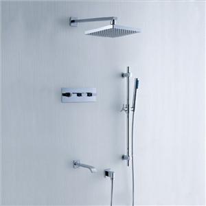 In-wall Chrome Shower Faucet Modern Shower System with Slide Bar Handshower