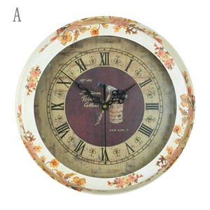 Luxury Vintage Wall Clock Round Non Ticking Wall Clock Decorative Clock YTU