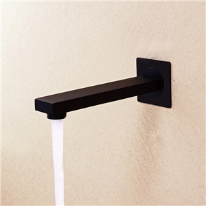 Modern Simple Tub Faucet Wall Mounted Square Bathtub Tap in Black