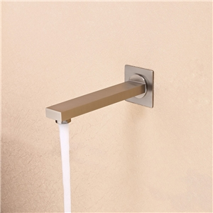 Modern Simple Tub Faucet Wall Mounted Square Bathtub Tap in Brushed Nickel