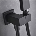 360° Rotating Handheld Shower Holder Solid Brass Square Hand Shower Holder with Supply Elbow