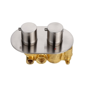 Nickel Brushed Shower Valve 2 Outlets Thermostatic Shower Valve in Round