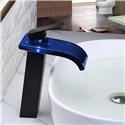 Glass LED Bathroom Sink Faucet Modern Waterfall Bathroom Vessel Sink Tap