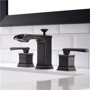 Special Widespread Bathroom Sink Faucet Antique Black Oil Rubbed Bronze Square Sink Tap