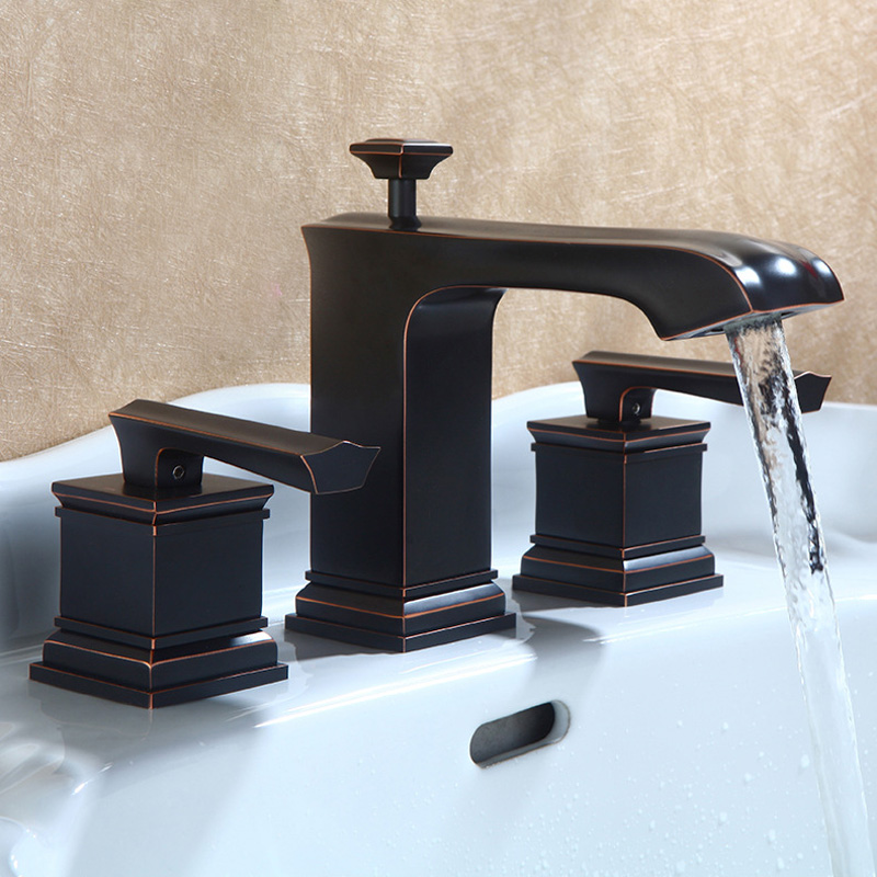 Special Widespread Bathroom Sink Faucet Antique Black Oil