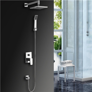 Wall Mount LED Shower Faucet Chrome Square Shower Faucet