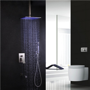 Modern LED Shower Faucet Brushed Nickel Shower Faucet with Rain Head and Tub Spout