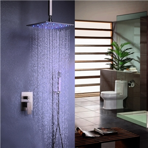 Special LED Shower Faucet Brushed Nickel Shower Faucet with Ceiling Mount Rain Shower Head