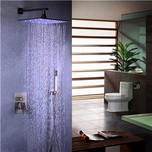 Brushed Nickel LED Shower Faucet Stainless Steel Rain Shower Faucet Set