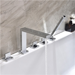 Square Chrome Tub Faucet Modern Deck-Mount Bathtub Tap
