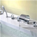 Deck Mount Waterfall Bathtub Tap Thin Moon Shape Tub Faucet with Handheld Shower