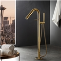Freestanding Tub Faucet Round Curved Floor Mounted Bathtub Tap with Handheld Shower Gold/Black/Silver