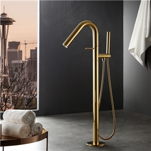 Solid Brass Freestanding Tub Faucet Round Curved Floor Mounted Bathtub Tap with Handheld Shower