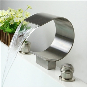 Thin Moon Shape Tub Faucet Deck Mount Waterfall Bathtub Tap in Brushed Nickel