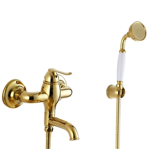 Elegant Golden Tub Faucet Wall Mount Bathtub Tap with Handheld Shower
