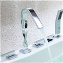 High Deck Mount Tub Faucet Special Solid Brass Bathtub Tap with Handshower Brushed Chrome