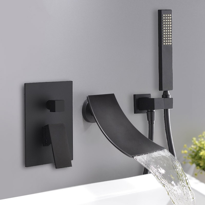 Modern Waterfall Tub Faucet Wall Mount Elegant Bathtub Tap