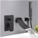 Black Wall Mount Waterfall Tub Faucet Elegant Bathtub Mixer with Hand Shower Chrome/Black