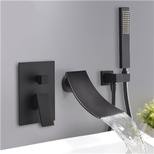 Modern Waterfall Tub Faucet Wall Mount Elegant Bathtub Tap Chrome/Black