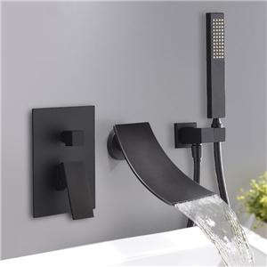 Modern Waterfall Tub Faucet Wall Mount Elegant Bathtub Tap Chrome/Black