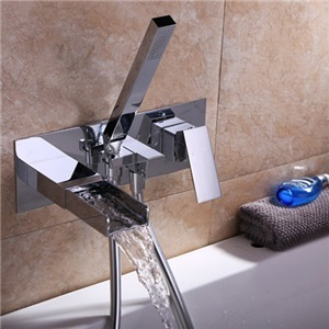 Contemporary Waterfall Tub Faucet Chrome Wall-Mount Bathtub Tap with Handheld Shower