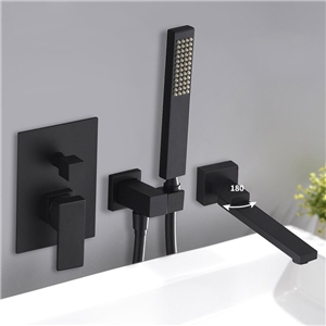 Elegant Square Tub Faucet Solid Brass Wall Mounted Bathtub Tap with Swivel Spout