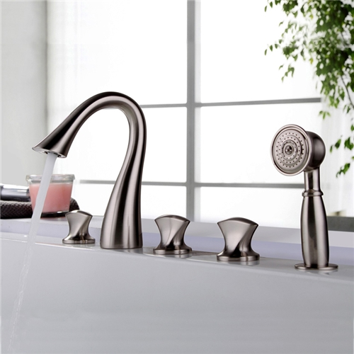 3 Handle Roman Tub Filler With Hand Shower Garden Tub Bath And Shower Mixer Tap