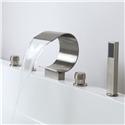 Brushed Nickel RomanTub Faucet Set Waterfall 2 Handle Bathtub Tap Mixer with Sprayer