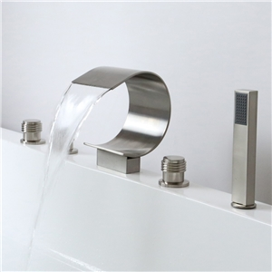 Vaulted Brushed Nickel Tub Faucet Waterfall Deck Mount Bathtub Tap with Handshower