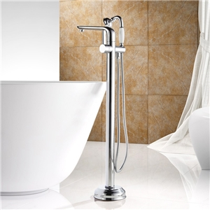 Sleek Floor Mount Tub Faucet Modern Chrome Bathtub Tap