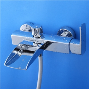 Modern Chrome Tub Faucet Waterfall Wall Mount Bathtub Tap