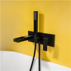 Wall Mount Tub Faucet Elegant Black Waterfall Bathtub Tap with Handshower