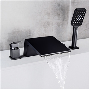 Unusual Deck Mount Tub Faucet Contemporary Waterfall Bathtub Tap with Handheld Shower Solid Black/Chrome
