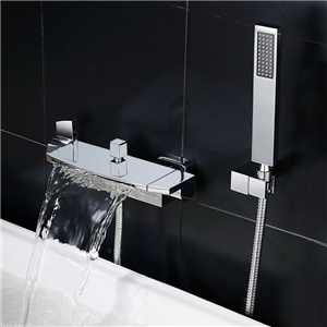 Contemporary Flat Tub Faucet Wall Mount Waterfall Bathtub Tap with Handheld Shower Chrome/Black