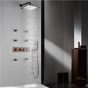 Rainfall Shower Faucet Wall Mount ORB Shower Faucet with Six Body Spray Jets